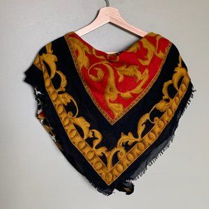 Large red and gold patterned square scarf